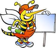 Pracująca pszczoła Trzyma znaka Fotografia Royalty Free
