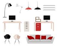 Pracującego miejsca Nowożytnego Biurowego Wewnętrznego Płaskiego projekta biurka miejsca pracy pojęcia miejsca pracy Wektorowy Il Zdjęcie Stock