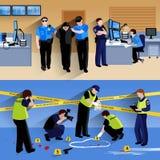 Pracujący policjantów Horyzontalnych sztandarów ludzie royalty ilustracja