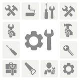 Pracujących narzędzi odosobnione ikony ustawiać młot Obrazy Royalty Free