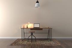 Pracuje biurko w pustym pokoju z dużą ścianą w tle Zdjęcia Stock