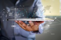 pracuje ci??kich dane analityka statystyk Ewidencyjnego biznesu technologi? obraz stock