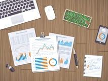 Pracuje z dokumentami, statystyki, dane analiza ilustracja wektor