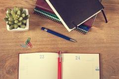 Pracy agenda, ołówek i roślina, Zdjęcia Royalty Free