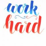 ` pracy ` ciężka ręka pisze list motywacyjną wycena w błękicie i pomarańcze ilustracja wektor