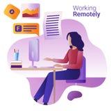 Pracy daleko pojęcie Płaska wektorowa ilustracja dla sztandaru Młoda kobieta pracuje daleko przy komputerem ilustracja wektor