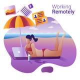 Pracy daleko pojęcie Płaska wektorowa ilustracja dla sztandaru Młodej dziewczyny daleko działanie przy laptopu lying on the beach ilustracja wektor