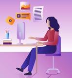 Pracy daleko pojęcie Płaska wektorowa ilustracja Młoda kobieta pracuje daleko przy komputerem ilustracja wektor