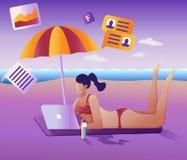 Pracy daleko pojęcie Płaska wektorowa ilustracja Młodej dziewczyny daleko działanie przy laptopu lying on the beach na plaży ilustracja wektor