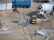 Pracy na budowie drogi i autostrady zdjęcia royalty free