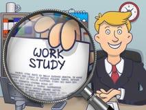Pracy nauka przez Powiększać - szkło Doodle projekt Zdjęcia Royalty Free