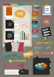 Pracy sieci biurowy układ Kolorowy graficzny płaski szablon Obraz Royalty Free