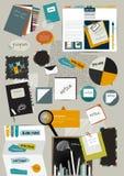 Pracy sieci biurowy układ. Kolorowy płaski graficzny szablon. Zdjęcie Stock