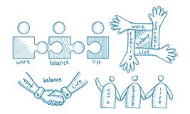 Pracy życia równowagi szablonu set Obraz Stock