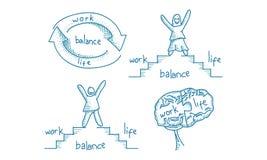 Pracy życia równowagi szablonu set Fotografia Stock