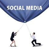 Pracy zespołowej ciągnięcia ogólnospołeczny medialny sztandar fotografia stock