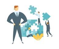 Pracy zespołowej i przywódctwo pojęcie Lider prowadzi jego drużynowego w kierunku sukcesu Biznesmeni z gigantycznymi łamigłówka k ilustracji