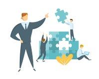 Pracy zespołowej i przywódctwo pojęcie Lider prowadzi jego drużynowego w kierunku sukcesu Biznesmeni z gigantycznymi łamigłówka k ilustracja wektor