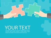 Pracy zespołowej pojęcia wyrzynarki współpraca, ręka chwyta wyrzynarki współpracy biznesu wektor Zdjęcia Stock