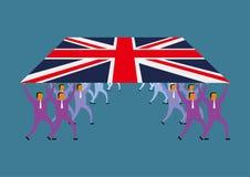Pracy zespołowej pojęcie, grupa biznesmeni podnosi Brytyjski flaga ilustracji