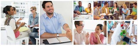 Pracy zespołowej spotkania kolaż obrazy stock