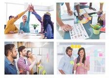 Pracy zespołowej spotkania kreatywnie kolaż zdjęcia stock