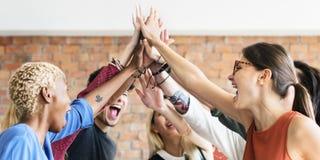 Pracy zespołowej władzy spotkania miejsca pracy Pomyślny pojęcie obrazy stock