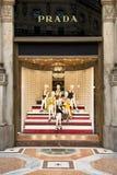 Prada armazena em Milão Imagem de Stock Royalty Free