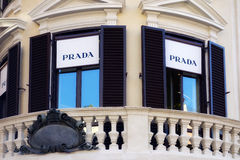 Prada Balcony Boutique Rome Downtown. Balcony of Prada Shop Boutique in Spanish Square in Rome Italy - 27th June 2014 Stock Photo