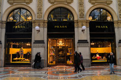 Prada boutique in Milan royalty free stock images