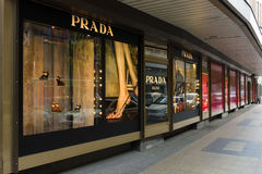 Prada boutique on the Kurfuerstendamm. BERLIN - JULY 24: Prada boutique on the Kurfuerstendamm. Prada is an Italian fashion label specializing in luxury goods Royalty Free Stock Photo