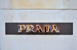 Prada Fashion logo on the wall Royalty Free Stock Photo