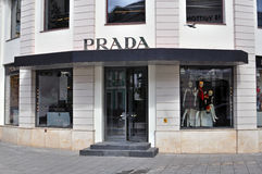 Prada flagship store. MOSCOW, RUSSIA - AUGUST 30: Facade of Prada flagship store in Moscow on August 30, 2014. Prada is an Italian luxury fashion house founded Stock Image