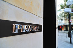Prada logo on the store wall Royalty Free Stock Images