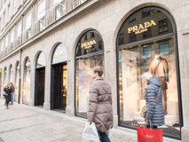 Prada Milano. Fashion store with people and copy space to the left Royalty Free Stock Image