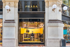 Prada shop at the Gallery Vittorio Emanuele II Piazza Duomo in Milan center, Italy Stock Image
