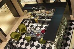 Prada store. Elegant and luxurious, prada store inside the new Rinascente in Rome, in via del corso, Italy Stock Images