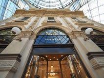 Prada store in Galleria Vittorio Emanuele II arcade in Milan. MILAN, ITALY - CIRCA JANUARY 2017: Prada store in Galleria Vittorio Emanuele II shopping arcade Stock Image