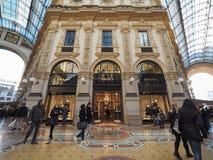 Prada store in Galleria Vittorio Emanuele II arcade in Milan. MILAN, ITALY - CIRCA JANUARY 2017: Prada store in Galleria Vittorio Emanuele II shopping arcade Stock Photo