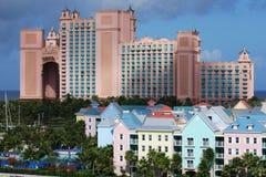 Pradise Island Resorts. Different size buildings-resorts on Paradise Island, The Bahamas Stock Images