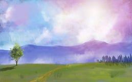 Prado, árboles y bosque de la pintura de Digitaces con el cielo dramático libre illustration