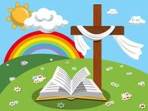 Prado abierto del evangelio de la biblia de la cruz del fondo de Pascua