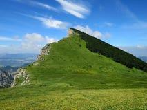 Prado alpino íngreme em Becs de Les Trois foto de stock royalty free