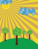 Prado asoleado con los árboles ilustración del vector