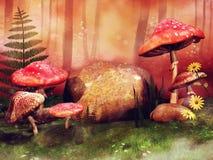 Prado colorido com os cogumelos feericamente vermelhos ilustração do vetor