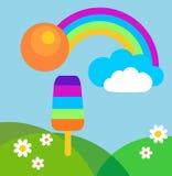 Prado colorido del verano con el arco iris y el helado Foto de archivo libre de regalías