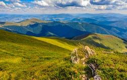 Prado com os pedregulhos em montanhas Carpathian no verão Fotografia de Stock