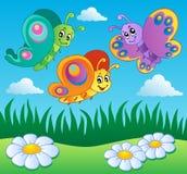 Prado com tema 1 das borboletas Foto de Stock Royalty Free