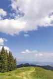 Prado con el fondo de las montañas Fotografía de archivo libre de regalías
