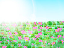 Prado con la hierba verde, las flores rosadas, el cielo azul y la luz del sol stock de ilustración